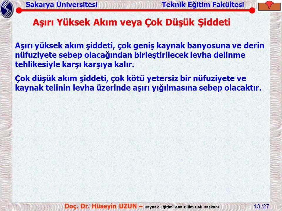 Sakarya Üniversitesi Teknik Eğitim Fakültesi /27 Doç. Dr. Hüseyin UZUN – Kaynak Eğitimi Ana Bilim Dalı Başkanı 13 Aşırı yüksek akım şiddeti, çok geniş