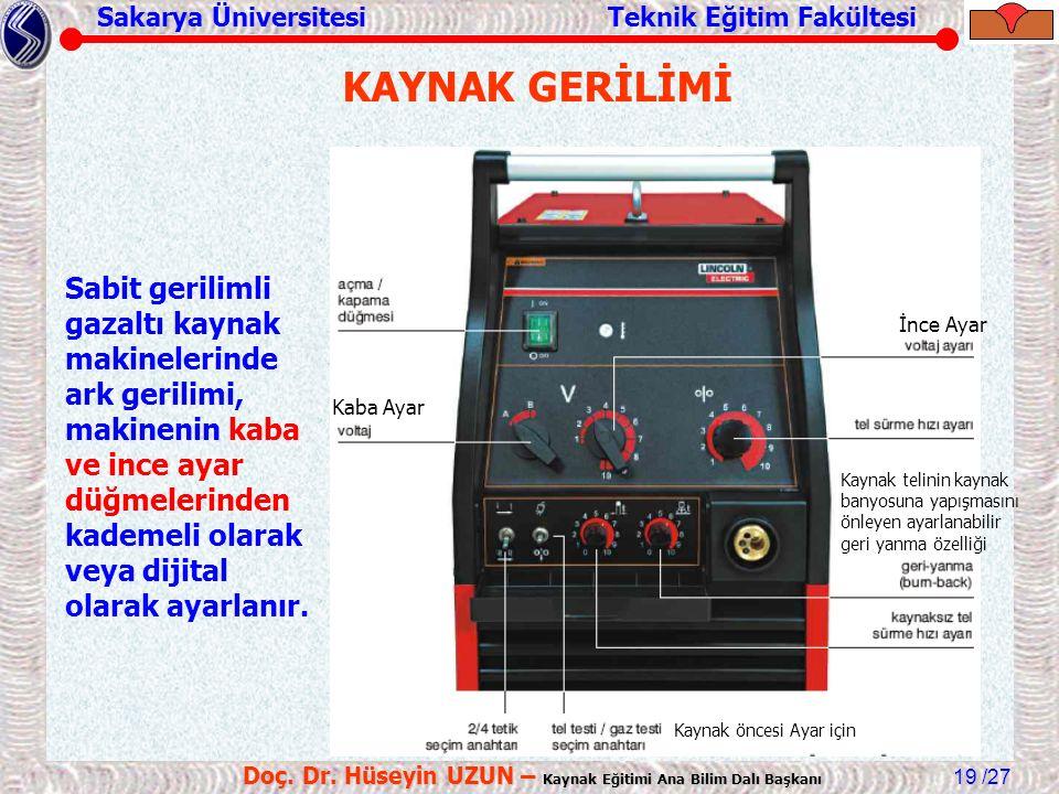 Sakarya Üniversitesi Teknik Eğitim Fakültesi /27 Doç. Dr. Hüseyin UZUN – Kaynak Eğitimi Ana Bilim Dalı Başkanı 19 KAYNAK GERİLİMİ Sabit gerilimli gaza