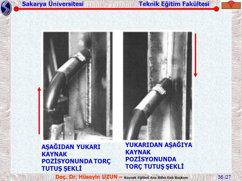 Sakarya Üniversitesi Teknik Eğitim Fakültesi /27 Doç. Dr. Hüseyin UZUN – Kaynak Eğitimi Ana Bilim Dalı Başkanı 36 AŞAĞIDAN YUKARI KAYNAK POZİSYONUNDA