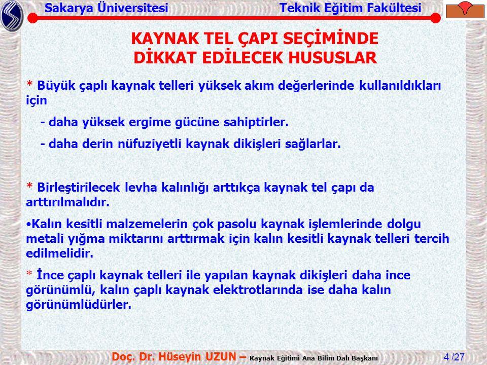 Sakarya Üniversitesi Teknik Eğitim Fakültesi /27 Doç. Dr. Hüseyin UZUN – Kaynak Eğitimi Ana Bilim Dalı Başkanı 4 * Büyük çaplı kaynak telleri yüksek a