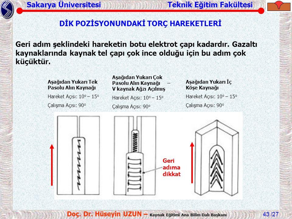 Sakarya Üniversitesi Teknik Eğitim Fakültesi /27 Doç. Dr. Hüseyin UZUN – Kaynak Eğitimi Ana Bilim Dalı Başkanı 43 DİK POZİSYONUNDAKİ TORÇ HAREKETLERİ