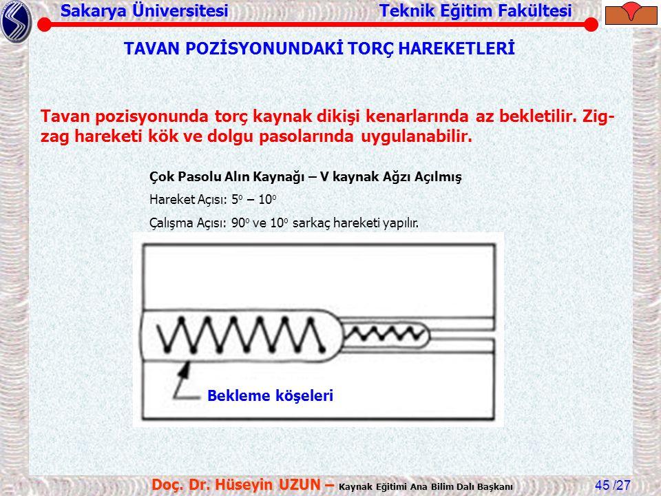 Sakarya Üniversitesi Teknik Eğitim Fakültesi /27 Doç. Dr. Hüseyin UZUN – Kaynak Eğitimi Ana Bilim Dalı Başkanı 45 TAVAN POZİSYONUNDAKİ TORÇ HAREKETLER