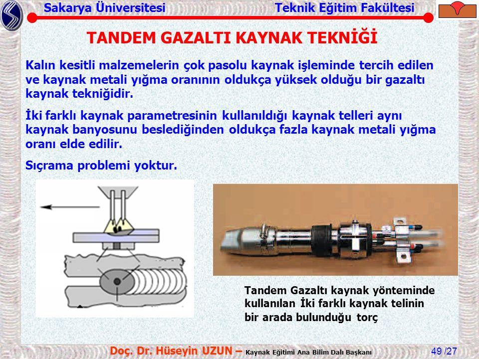 Sakarya Üniversitesi Teknik Eğitim Fakültesi /27 Doç. Dr. Hüseyin UZUN – Kaynak Eğitimi Ana Bilim Dalı Başkanı 49 TANDEM GAZALTI KAYNAK TEKNİĞİ Tandem