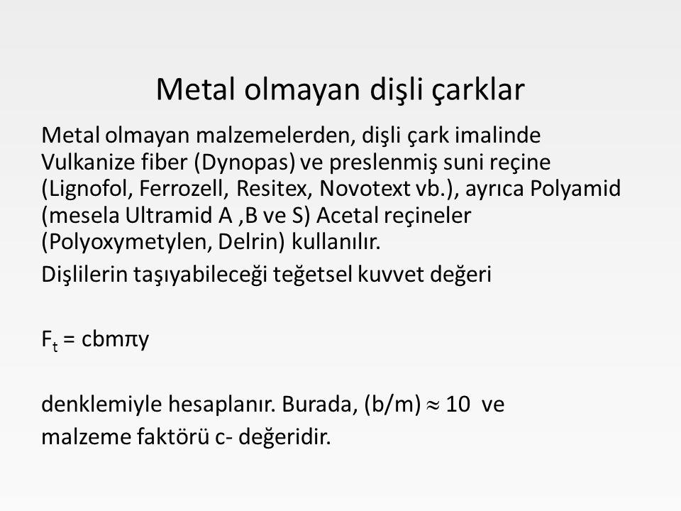 Metal olmayan malzemelerden, dişli çark imalinde Vulkanize fiber (Dynopas) ve preslenmiş suni reçine (Lignofol, Ferrozell, Resitex, Novotext vb.), ayrıca Polyamid (mesela Ultramid A,B ve S) Acetal reçineler (Polyoxymetylen, Delrin) kullanılır.