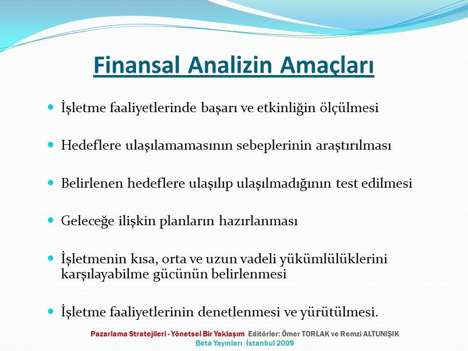 Finansal Analizin Amaçları İşletme faaliyetlerinde başarı ve etkinliğin ölçülmesi Hedeflere ulaşılamamasının sebeplerinin araştırılması Belirlenen hed