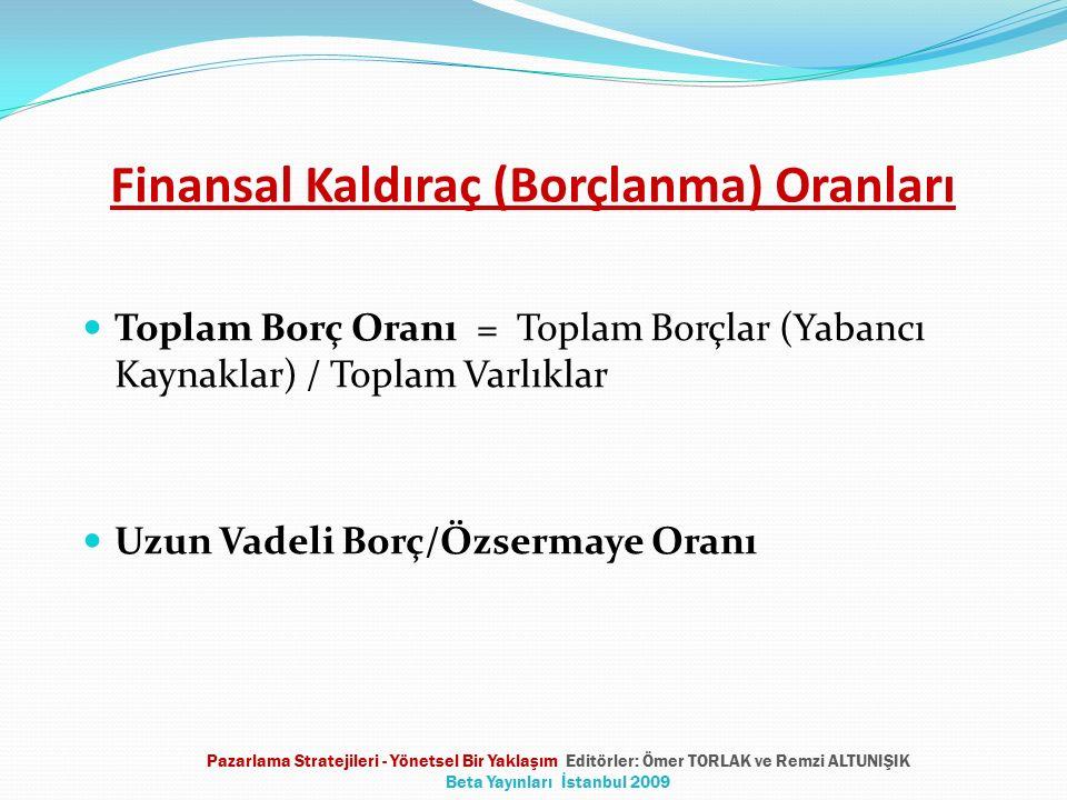 Finansal Kaldıraç (Borçlanma) Oranları Toplam Borç Oranı = Toplam Borçlar (Yabancı Kaynaklar) / Toplam Varlıklar Uzun Vadeli Borç/Özsermaye Oranı Paza