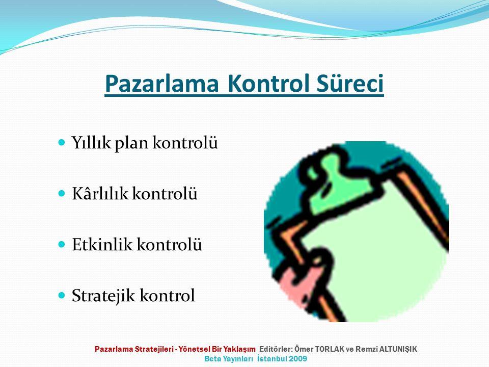Pazarlama Kontrol Süreci Yıllık plan kontrolü Kârlılık kontrolü Etkinlik kontrolü Stratejik kontrol Pazarlama Stratejileri - Yönetsel Bir Yaklaşım Edi