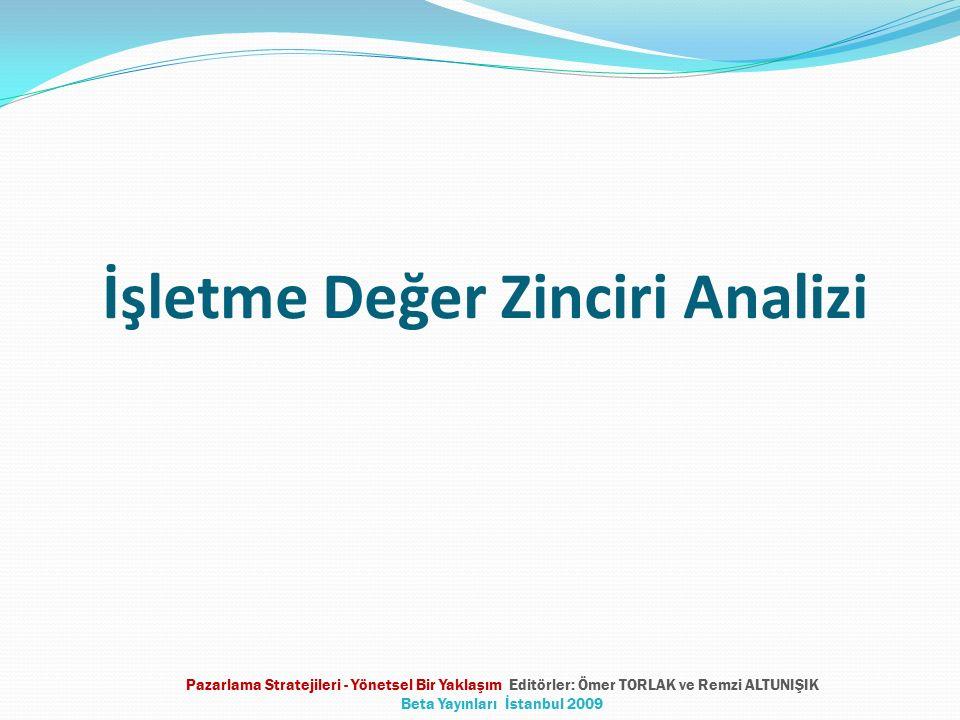 İşletme Değer Zinciri Analizi Pazarlama Stratejileri - Yönetsel Bir Yaklaşım Editörler: Ömer TORLAK ve Remzi ALTUNIŞIK Beta Yayınları İstanbul 2009