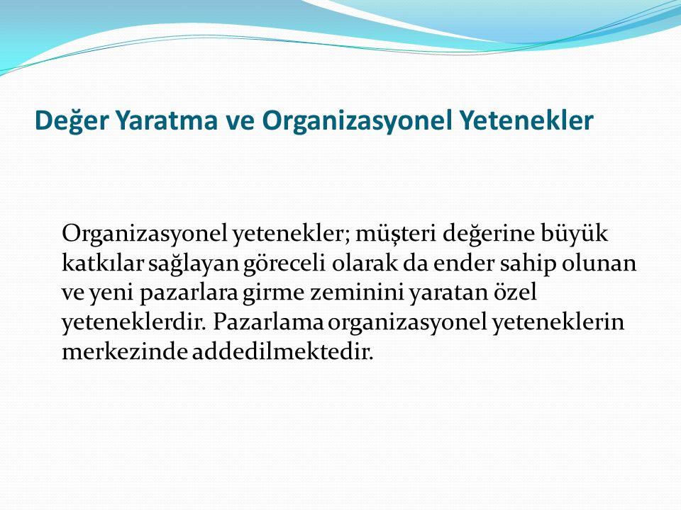 Değer Yaratma ve Organizasyonel Yetenekler Organizasyonel yetenekler; müşteri değerine büyük katkılar sağlayan göreceli olarak da ender sahip olunan v