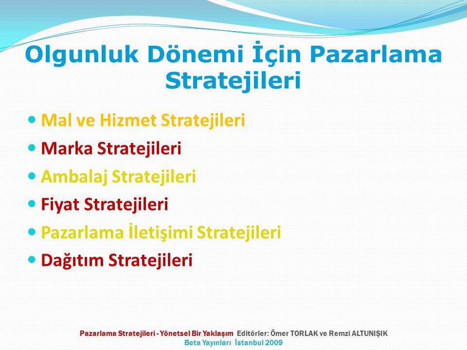 Olgunluk Dönemi İçin Pazarlama Stratejileri Mal ve Hizmet Stratejileri Marka Stratejileri Ambalaj Stratejileri Fiyat Stratejileri Pazarlama İletişimi