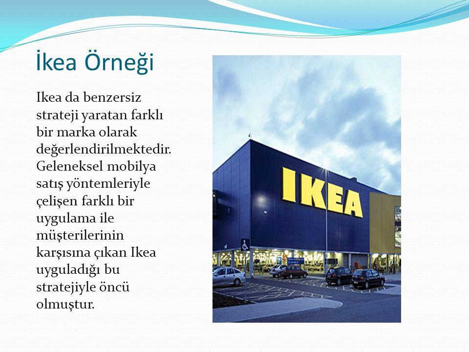 İkea Örneği Ikea da benzersiz strateji yaratan farklı bir marka olarak değerlendirilmektedir. Geleneksel mobilya satış yöntemleriyle çelişen farklı bi