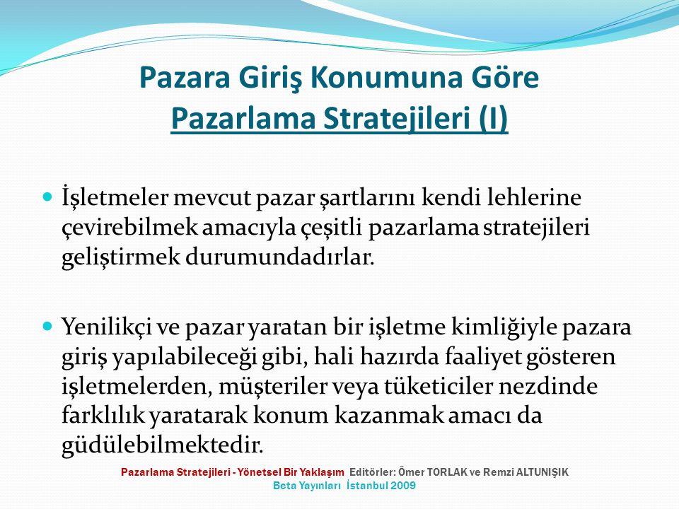 Yeni Fırsatlar Yaratmak İçin Öneriler Piyasaya arzı yetersiz olan bir ürünü sunmak Mevcut bir ürün ya da hizmeti, yeni ya da daha üstün bir şekilde sunmak Yeni bir ürün veya hizmet sunmak Pazarlama Stratejileri - Yönetsel Bir Yaklaşım Editörler: Ömer TORLAK ve Remzi ALTUNIŞIK Beta Yayınları İstanbul 2009