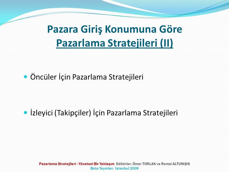 Pazara Giriş Konumuna Göre Pazarlama Stratejileri (II) Öncüler İçin Pazarlama Stratejileri İzleyici (Takipçiler) İçin Pazarlama Stratejileri Pazarlama