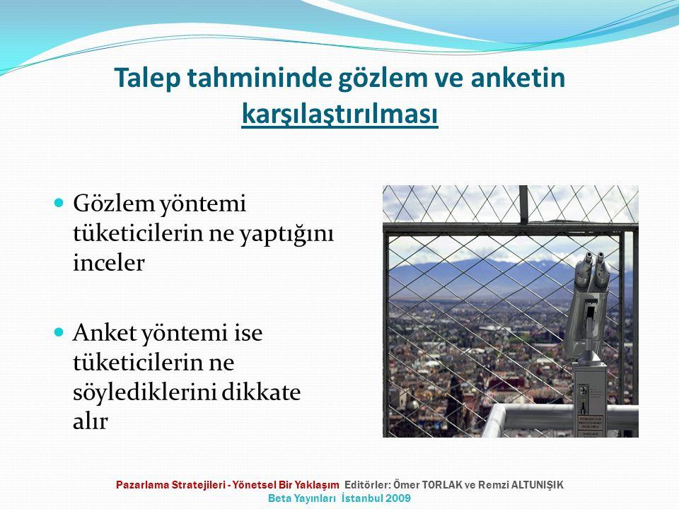 Talep tahmininde gözlem ve anketin karşılaştırılması Gözlem yöntemi tüketicilerin ne yaptığını inceler Anket yöntemi ise tüketicilerin ne söylediklerini dikkate alır Pazarlama Stratejileri - Yönetsel Bir Yaklaşım Editörler: Ömer TORLAK ve Remzi ALTUNIŞIK Beta Yayınları İstanbul 2009