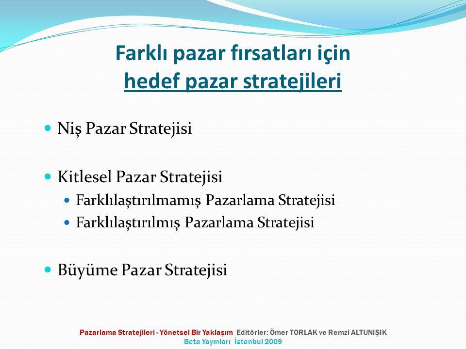 Farklı pazar fırsatları için hedef pazar stratejileri Niş Pazar Stratejisi Kitlesel Pazar Stratejisi Farklılaştırılmamış Pazarlama Stratejisi Farklılaştırılmış Pazarlama Stratejisi Büyüme Pazar Stratejisi Pazarlama Stratejileri - Yönetsel Bir Yaklaşım Editörler: Ömer TORLAK ve Remzi ALTUNIŞIK Beta Yayınları İstanbul 2009