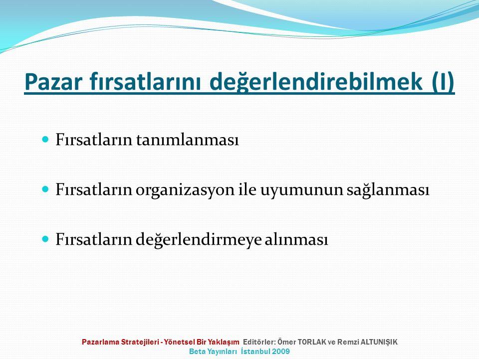 Pazar fırsatlarını değerlendirebilmek (I) Fırsatların tanımlanması Fırsatların organizasyon ile uyumunun sağlanması Fırsatların değerlendirmeye alınması Pazarlama Stratejileri - Yönetsel Bir Yaklaşım Editörler: Ömer TORLAK ve Remzi ALTUNIŞIK Beta Yayınları İstanbul 2009