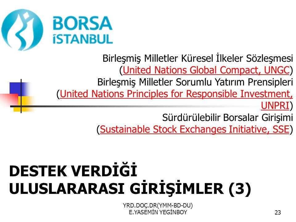 YRD.DOÇ.DR(YMM-BD-DU) E.YASEMİN YEGİNBOY23 Birleşmiş Milletler Küresel İlkeler Sözleşmesi (United Nations Global Compact, UNGC) Birleşmiş Milletler Sorumlu Yatırım PrensipleriUnited Nations Global Compact, UNGC (United Nations Principles for Responsible Investment, UNPRI) Sürdürülebilir Borsalar GirişimiUnited Nations Principles for Responsible Investment, UNPRI (Sustainable Stock Exchanges Initiative, SSE)Sustainable Stock Exchanges Initiative, SSE DESTEK VERDİĞİ ULUSLARARASI GİRİŞİMLER (3)