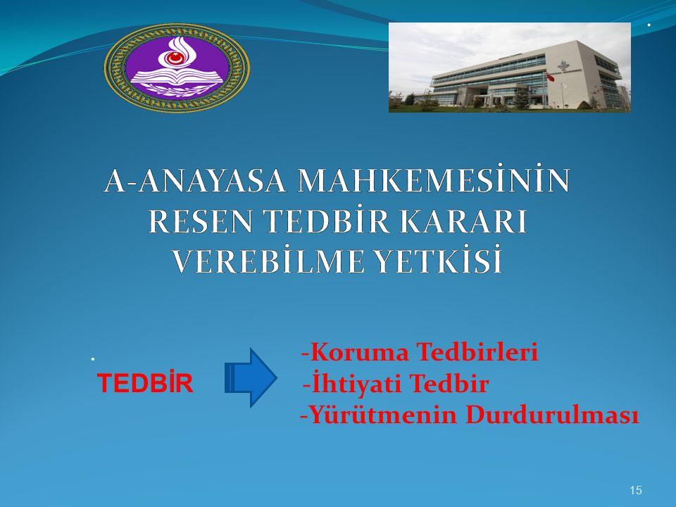.. -Koruma Tedbirleri TEDBİR -İhtiyati Tedbir -Yürütmenin Durdurulması 15