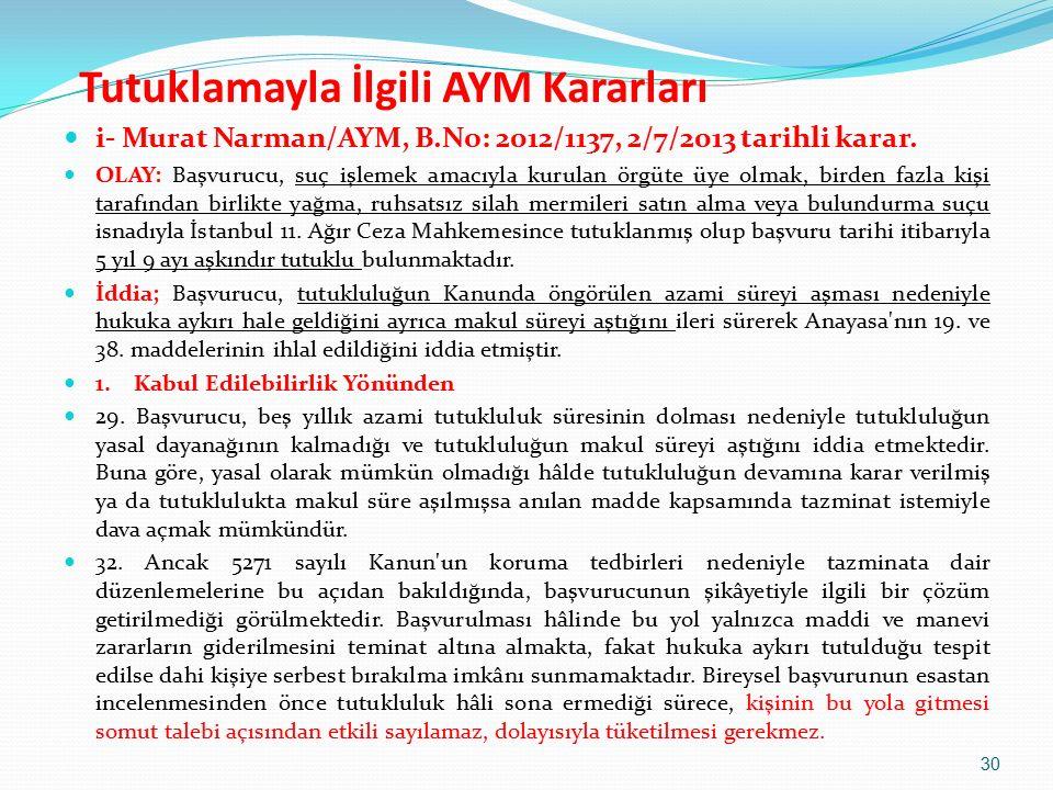 i- Murat Narman/AYM, B.No: 2012/1137, 2/7/2013 tarihli karar.