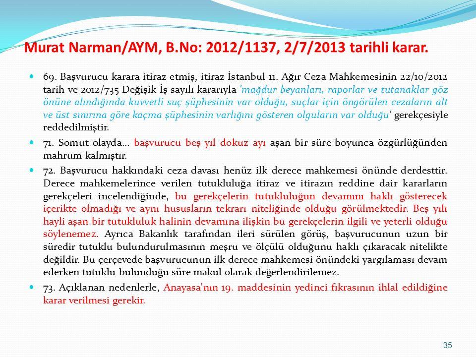 69. Başvurucu karara itiraz etmiş, itiraz İstanbul 11.