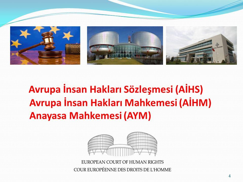 Avrupa İnsan Hakları Sözleşmesi (AİHS) Avrupa İnsan Hakları Mahkemesi (AİHM) Anayasa Mahkemesi (AYM) 4