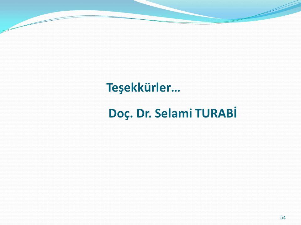 Doç. Dr. Selami TURABİ Teşekkürler… 54