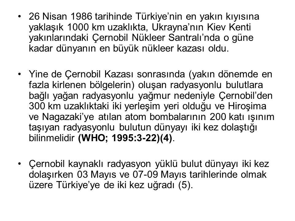 26 Nisan 1986 tarihinde Türkiye'nin en yakın kıyısına yaklaşık 1000 km uzaklıkta, Ukrayna'nın Kiev Kenti yakınlarındaki Çernobil Nükleer Santralı'nda o güne kadar dünyanın en büyük nükleer kazası oldu.