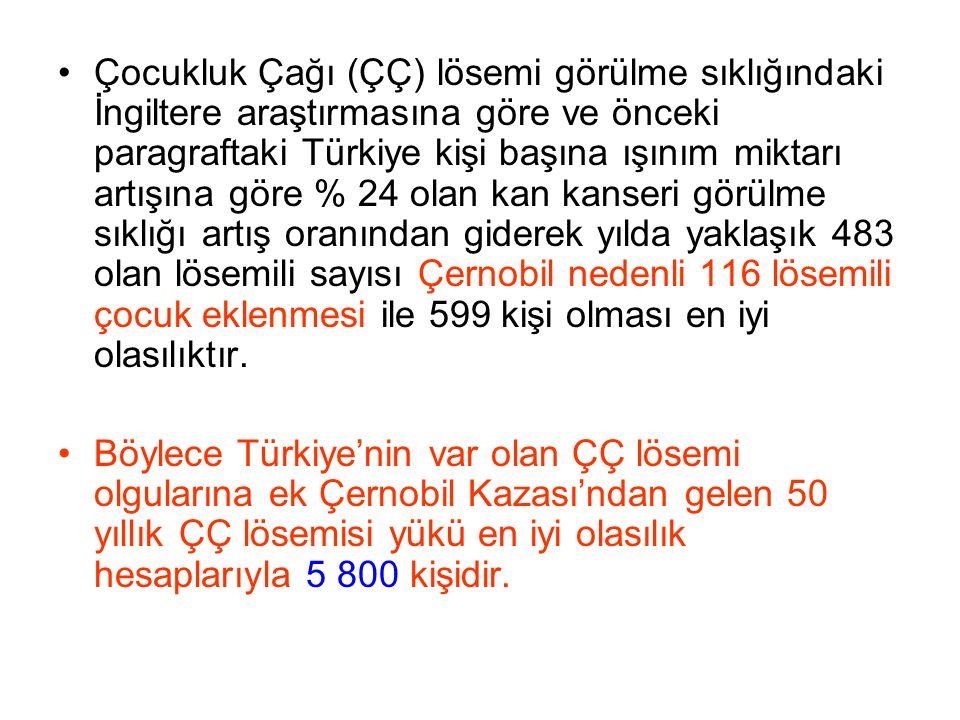 Çocukluk Çağı (ÇÇ) lösemi görülme sıklığındaki İngiltere araştırmasına göre ve önceki paragraftaki Türkiye kişi başına ışınım miktarı artışına göre % 24 olan kan kanseri görülme sıklığı artış oranından giderek yılda yaklaşık 483 olan lösemili sayısı Çernobil nedenli 116 lösemili çocuk eklenmesi ile 599 kişi olması en iyi olasılıktır.