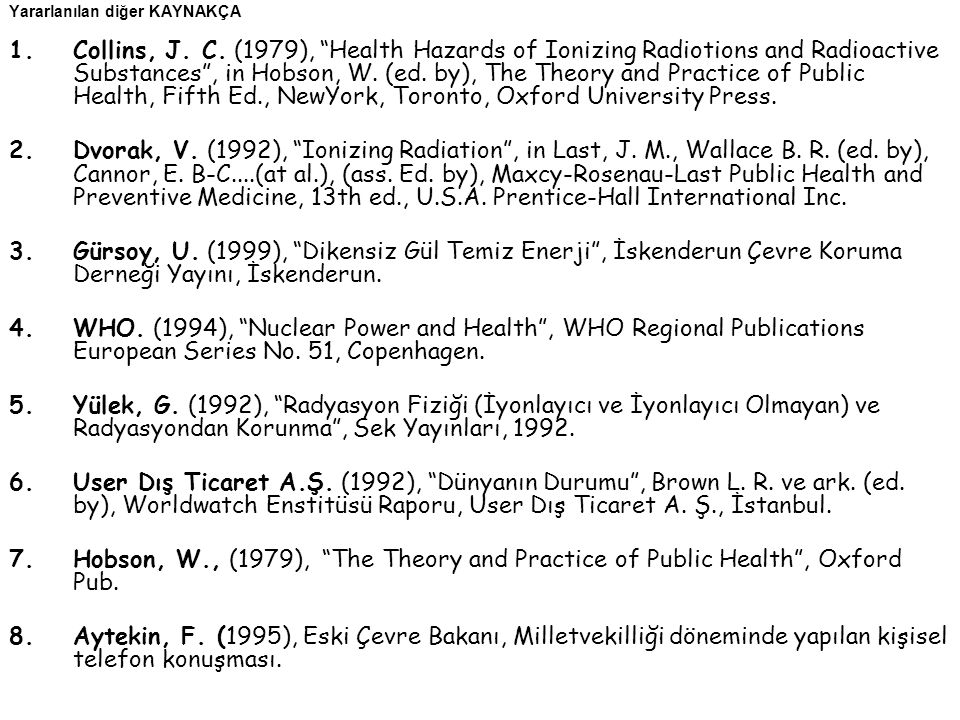 "Yararlanılan diğer KAYNAKÇA 1.Collins, J. C. (1979), ""Health Hazards of Ionizing Radiotions and Radioactive Substances"", in Hobson, W. (ed. by), The T"