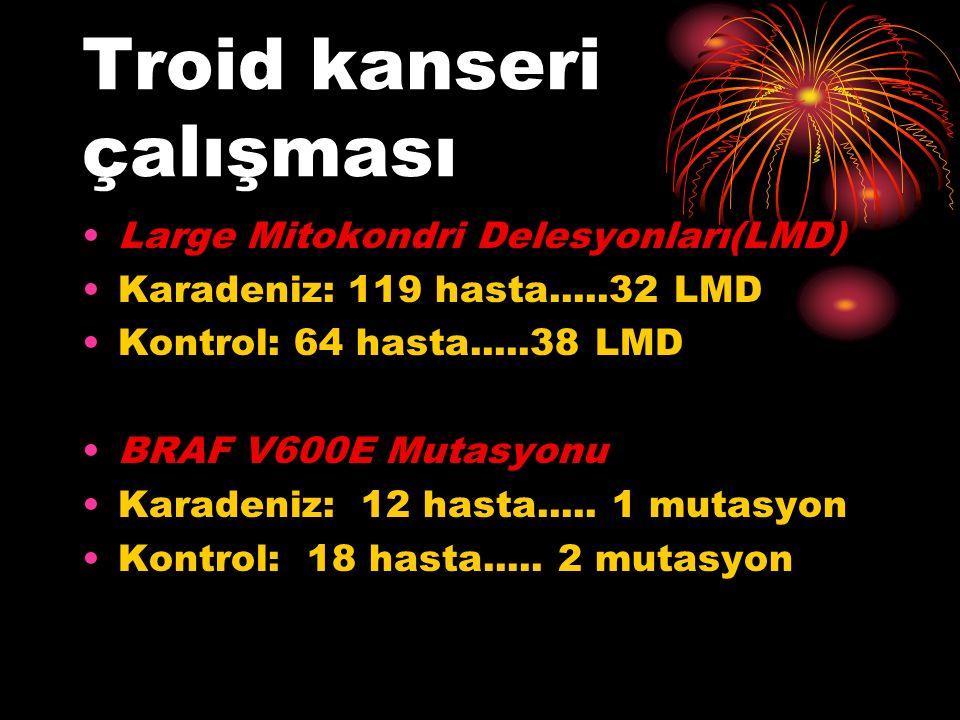 Troid kanseri çalışması Large Mitokondri Delesyonları(LMD) Karadeniz: 119 hasta.....32 LMD Kontrol: 64 hasta.....38 LMD BRAF V600E Mutasyonu Karadeniz: 12 hasta.....
