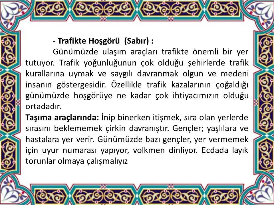 - Trafikte Hoşgörü (Sabır) : Günümüzde ulaşım araçları trafikte önemli bir yer tutuyor.