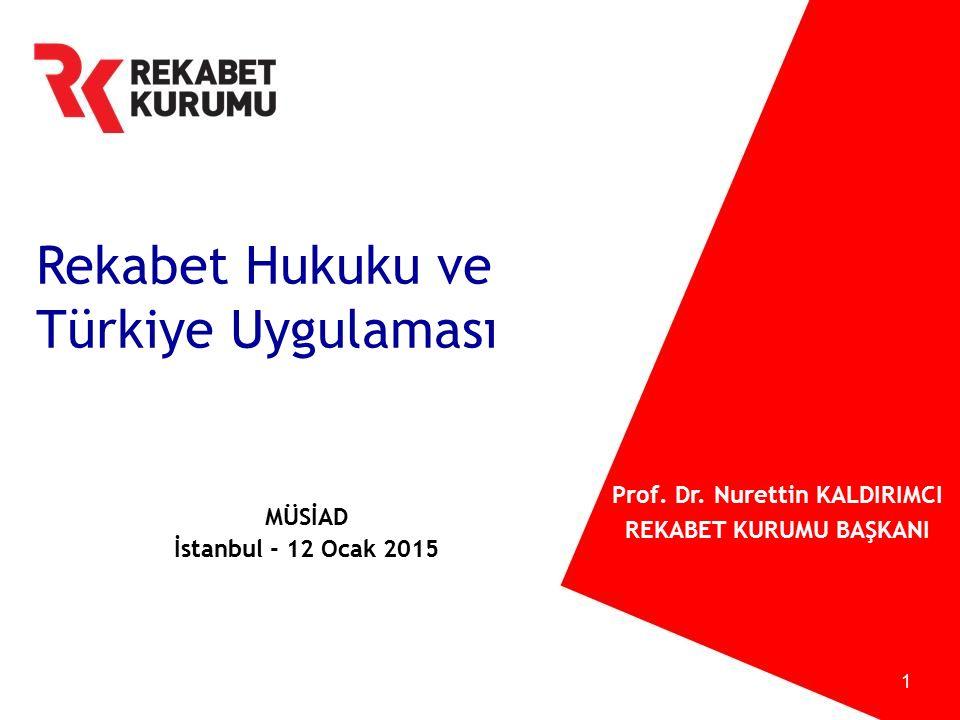 1 Rekabet Hukuku ve Türkiye Uygulaması MÜSİAD İstanbul - 12 Ocak 2015 Prof. Dr. Nurettin KALDIRIMCI REKABET KURUMU BAŞKANI