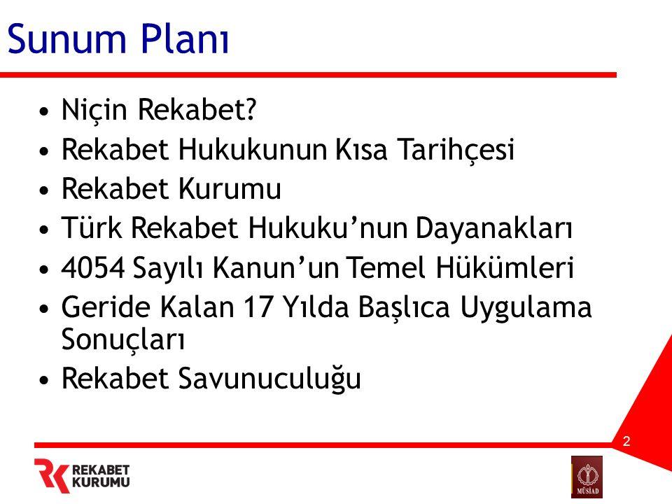 2 Sunum Planı Niçin Rekabet? Rekabet Hukukunun Kısa Tarihçesi Rekabet Kurumu Türk Rekabet Hukuku'nun Dayanakları 4054 Sayılı Kanun'un Temel Hükümleri