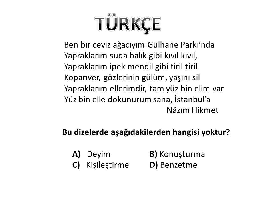 Ben bir ceviz ağacıyım Gülhane Parkı'nda Yapraklarım suda balık gibi kıvıl kıvıl, Yapraklarım ipek mendil gibi tiril tiril Koparıver, gözlerinin gülüm, yaşını sil Yapraklarım ellerimdir, tam yüz bin elim var Yüz bin elle dokunurum sana, İstanbul'a Nâzım Hikmet Bu dizelerde aşağıdakilerden hangisi yoktur.