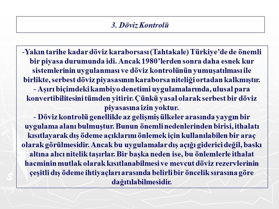-Yakın tarihe kadar döviz karaborsası (Tahtakale) Türkiye'de de önemli bir piyasa durumunda idi.