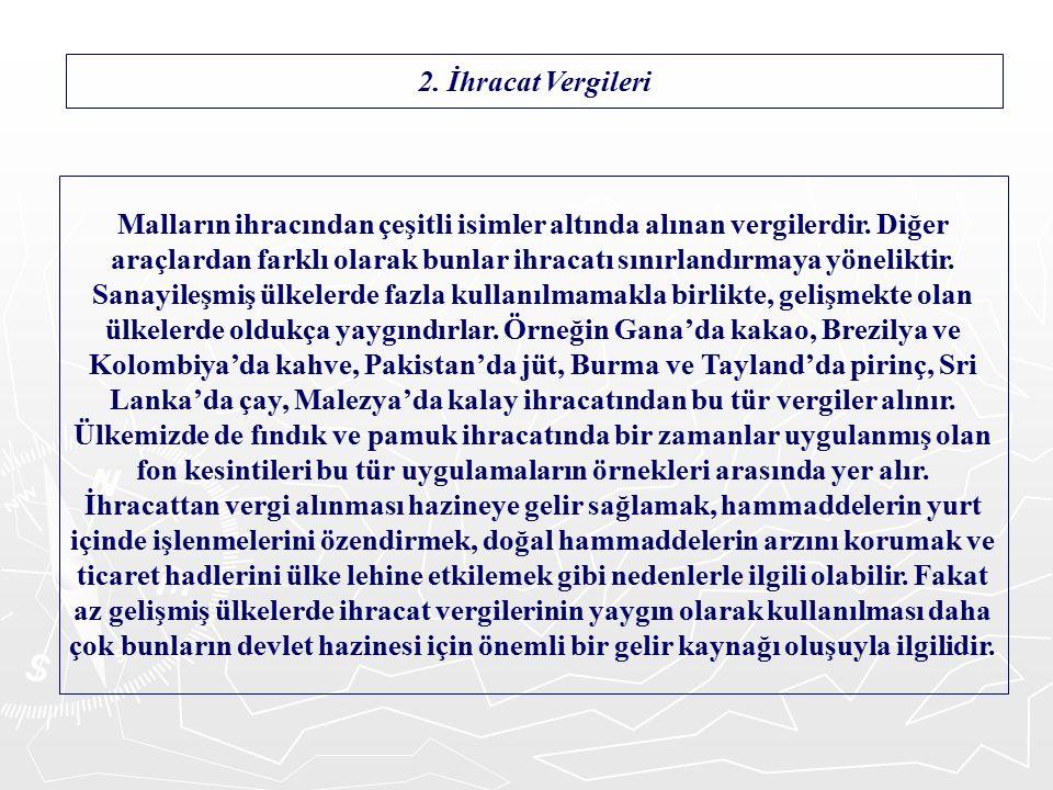 2. İhracat Vergileri Malların ihracından çeşitli isimler altında alınan vergilerdir.