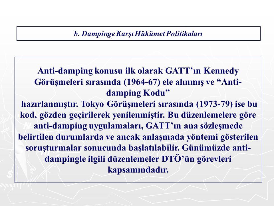 Anti-damping konusu ilk olarak GATT'ın Kennedy Görüşmeleri sırasında (1964-67) ele alınmış ve Anti- damping Kodu hazırlanmıştır.