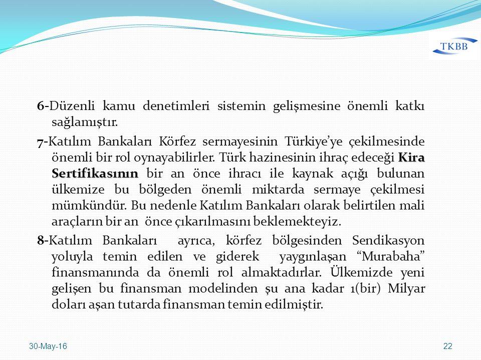 6-Düzenli kamu denetimleri sistemin gelişmesine önemli katkı sağlamıştır. Kira Sertifikasının 7-Katılım Bankaları Körfez sermayesinin Türkiye'ye çekil