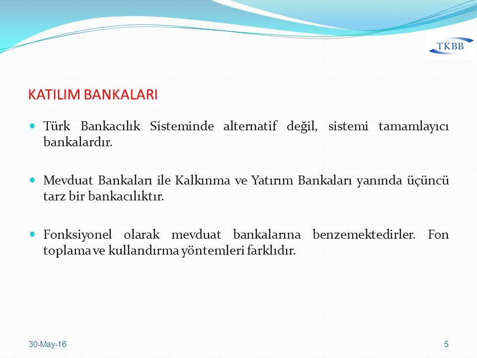 KATILIM BANKALARI Türk Bankacılık Sisteminde alternatif değil, sistemi tamamlayıcı bankalardır. Mevduat Bankaları ile Kalkınma ve Yatırım Bankaları ya