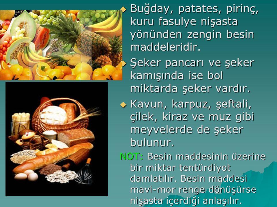  Buğday, patates, pirinç, kuru fasulye nişasta yönünden zengin besin maddeleridir.