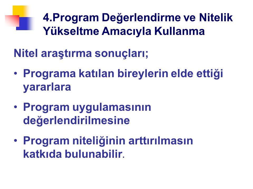 4.Program Değerlendirme ve Nitelik Yükseltme Amacıyla Kullanma Nitel araştırma sonuçları; Programa katılan bireylerin elde ettiği yararlara Program uygulamasının değerlendirilmesine Program niteliğinin arttırılmasın katkıda bulunabilir.