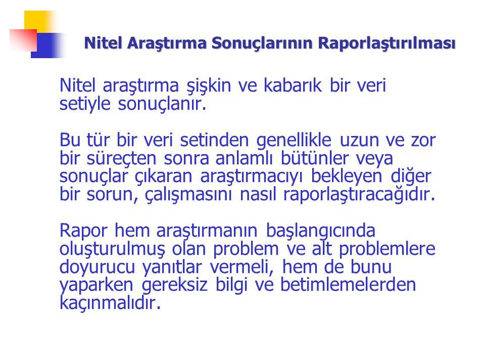 Nitel Araştırma Sonuçlarının Raporlaştırılması Nitel araştırma şişkin ve kabarık bir veri setiyle sonuçlanır.