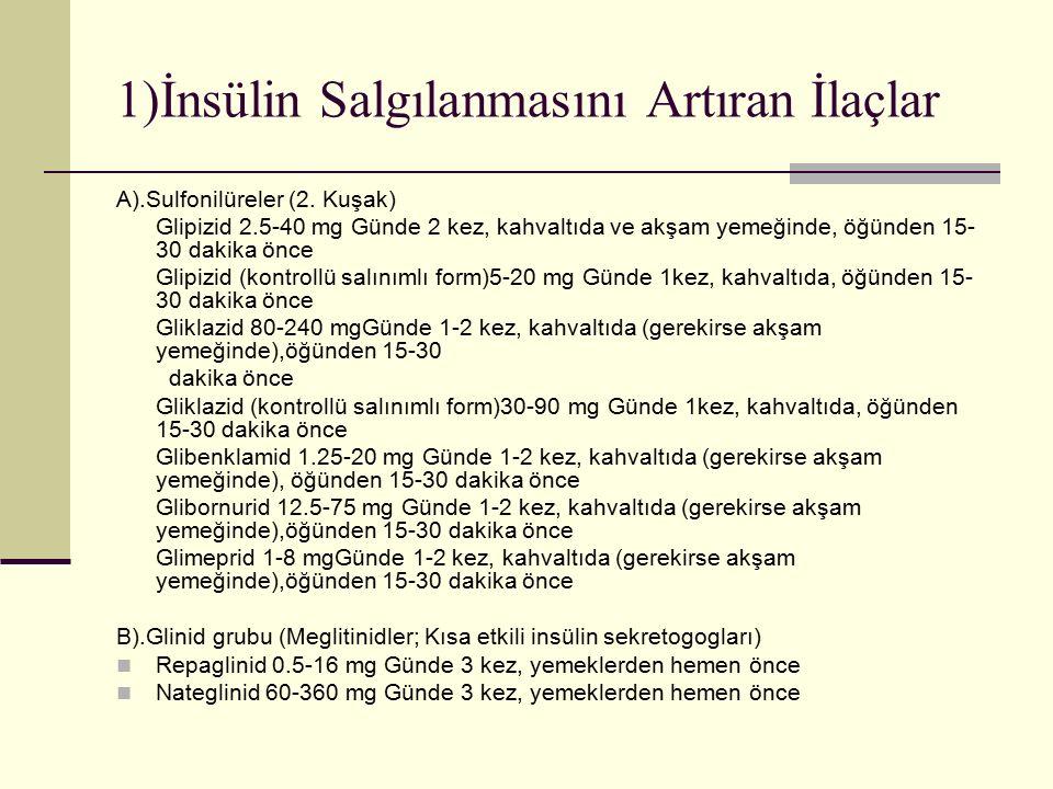 1)İnsülin Salgılanmasını Artıran İlaçlar A).Sulfonilüreler (2. Kuşak) Glipizid 2.5-40 mg Günde 2 kez, kahvaltıda ve akşam yemeğinde, öğünden 15- 30 da
