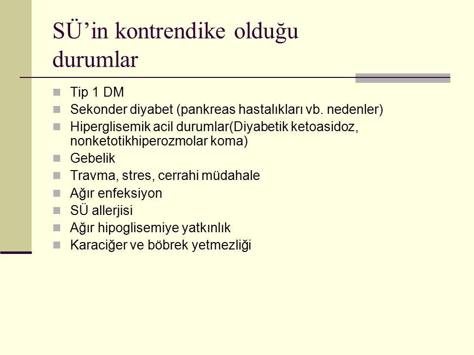 SÜ'in kontrendike olduğu durumlar Tip 1 DM Sekonder diyabet (pankreas hastalıkları vb. nedenler) Hiperglisemik acil durumlar(Diyabetik ketoasidoz, non