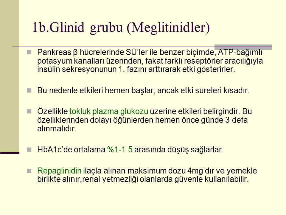 1b.Glinid grubu (Meglitinidler) Pankreas β hücrelerinde SÜ'ler ile benzer biçimde, ATP-bağımlı potasyum kanalları üzerinden, fakat farklı reseptörler