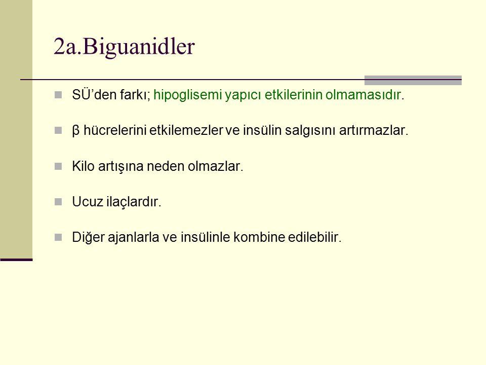 2a.Biguanidler SÜ'den farkı; hipoglisemi yapıcı etkilerinin olmamasıdır. β hücrelerini etkilemezler ve insülin salgısını artırmazlar. Kilo artışına ne