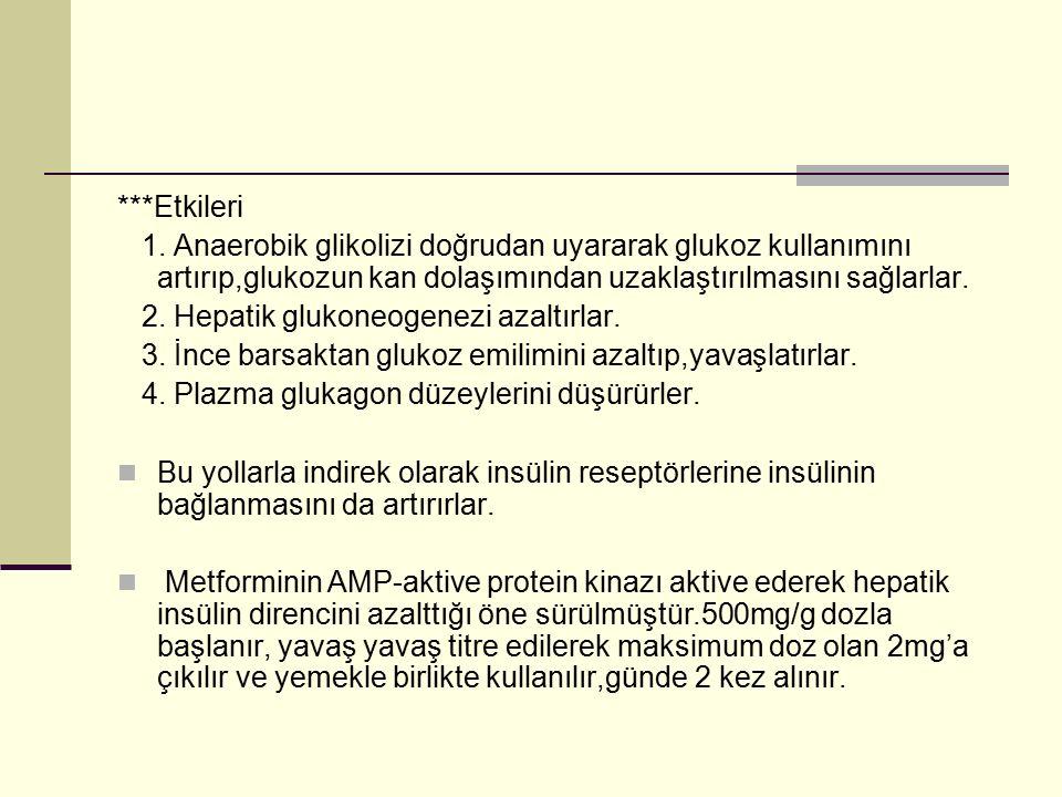 ***Etkileri 1. Anaerobik glikolizi doğrudan uyararak glukoz kullanımını artırıp,glukozun kan dolaşımından uzaklaştırılmasını sağlarlar. 2. Hepatik glu