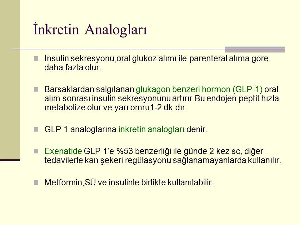 İnkretin Analogları İnsülin sekresyonu,oral glukoz alımı ile parenteral alıma göre daha fazla olur. Barsaklardan salgılanan glukagon benzeri hormon (G