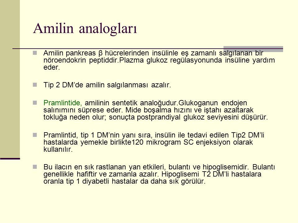 Amilin analogları Amilin pankreas β hücrelerinden insülinle eş zamanlı salgılanan bir nöroendokrin peptiddir.Plazma glukoz regülasyonunda insüline yar