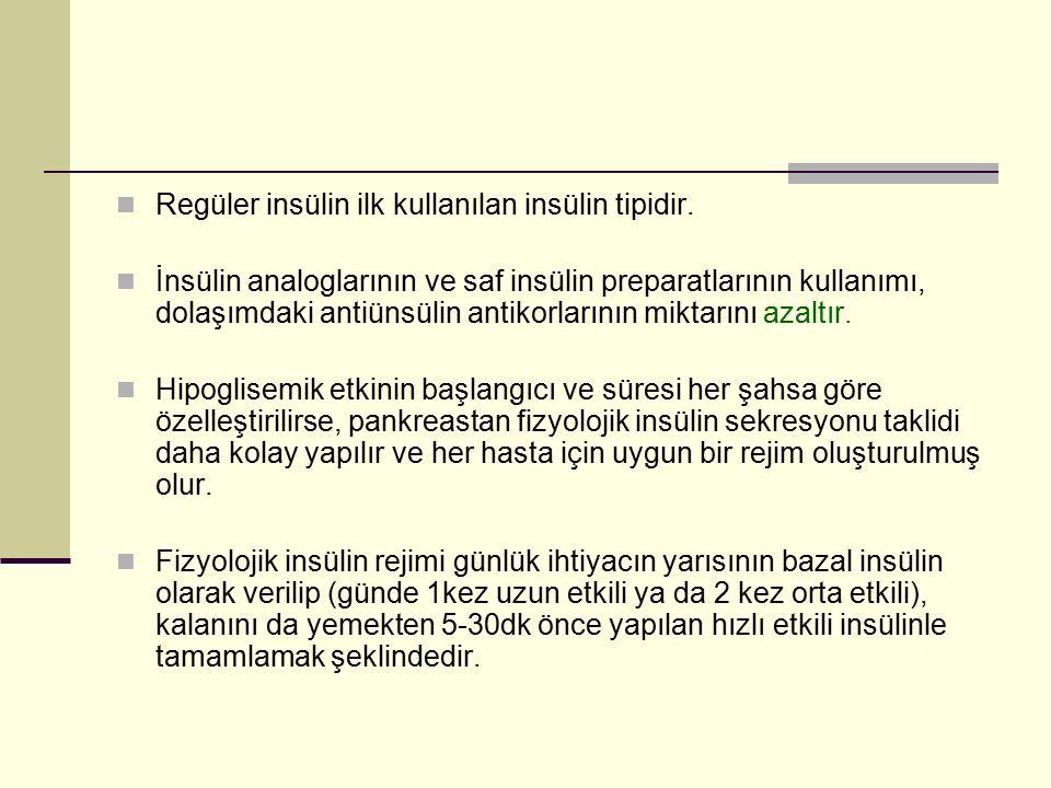 Regüler insülin ilk kullanılan insülin tipidir. İnsülin analoglarının ve saf insülin preparatlarının kullanımı, dolaşımdaki antiünsülin antikorlarının